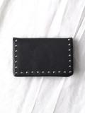 "PATRICK STEPHAN (パトリックステファン) ""Leather card case 'corner studs' KS"" #183AAO23 <カードケース> - BLACK×SILVER"
