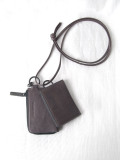 """PATRICK STEPHAN (パトリックステファン) """"Leather wallet & card case 'empty-handed' / oil tanned ネックウォレット"""" #183AWA06  <財布/カードケース> - CHARCOAL GRAY"""