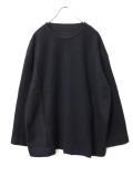 """【18AW】 VOAAOV (ヴォアーブ)  """"switching big knit"""" <クルーネックニット> -  NAVY(ブラックネイビー系)"""