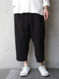 "【18AW】 VOAAOV (ヴォアーブ)  ""nylon cropped pants"" <ワイドクロップドパンツ> - BLACK"