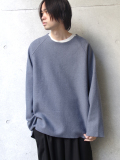 "【19AW】 VOAAOV (ヴォアーブ)  ""wool switching sweat"" <ニット/スウェット> - BLUE"