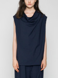 "【21SS】 VOAAOV (ヴォアーブ)  ""WASHABLE WOOL DRAPE VEST"" <ベスト> - NAVY"