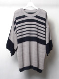 "【2020SS】 wizzard (ウィザード)  ""14G S/S BORDER KNIT"" <サマーニット> - LT. GRAY×NAVY"
