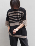 "【2020SS】 wizzard (ウィザード)  ""14G S/S BORDER KNIT"" <サマーニット> - BLACK×BRONZE"