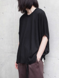 "【SHELTER別注】 wizzard (ウィザード)  ""WIDE SUMMER KNIT TEE"" <サマーニット> - BLACK"