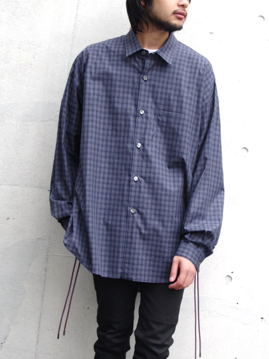 "LAST 1.【19AW】 soe (ソーイ)  ""Side Drawstring Checked Shirt"" <チェックシャツ>"
