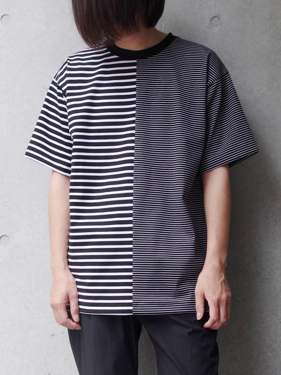 """【SALE:20SS】 soe (ソーイ)  """"Swiching H/S Tee"""" <Tシャツ/カットソー> - BLACK×OFF WHITE"""