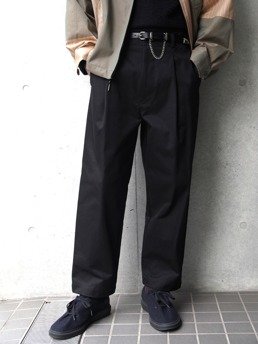 "【19AW】 VOAAOV (ヴォアーブ)  ""box pleats wide pants"" <ワイドパンツ> - BLACK"