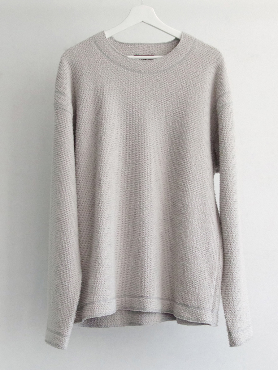 """【2019AW】 wizzard (ウィザード)  """"BRUSHED WAFFLE CUTSEW"""" <カットソー> - LIGHT GRAY"""
