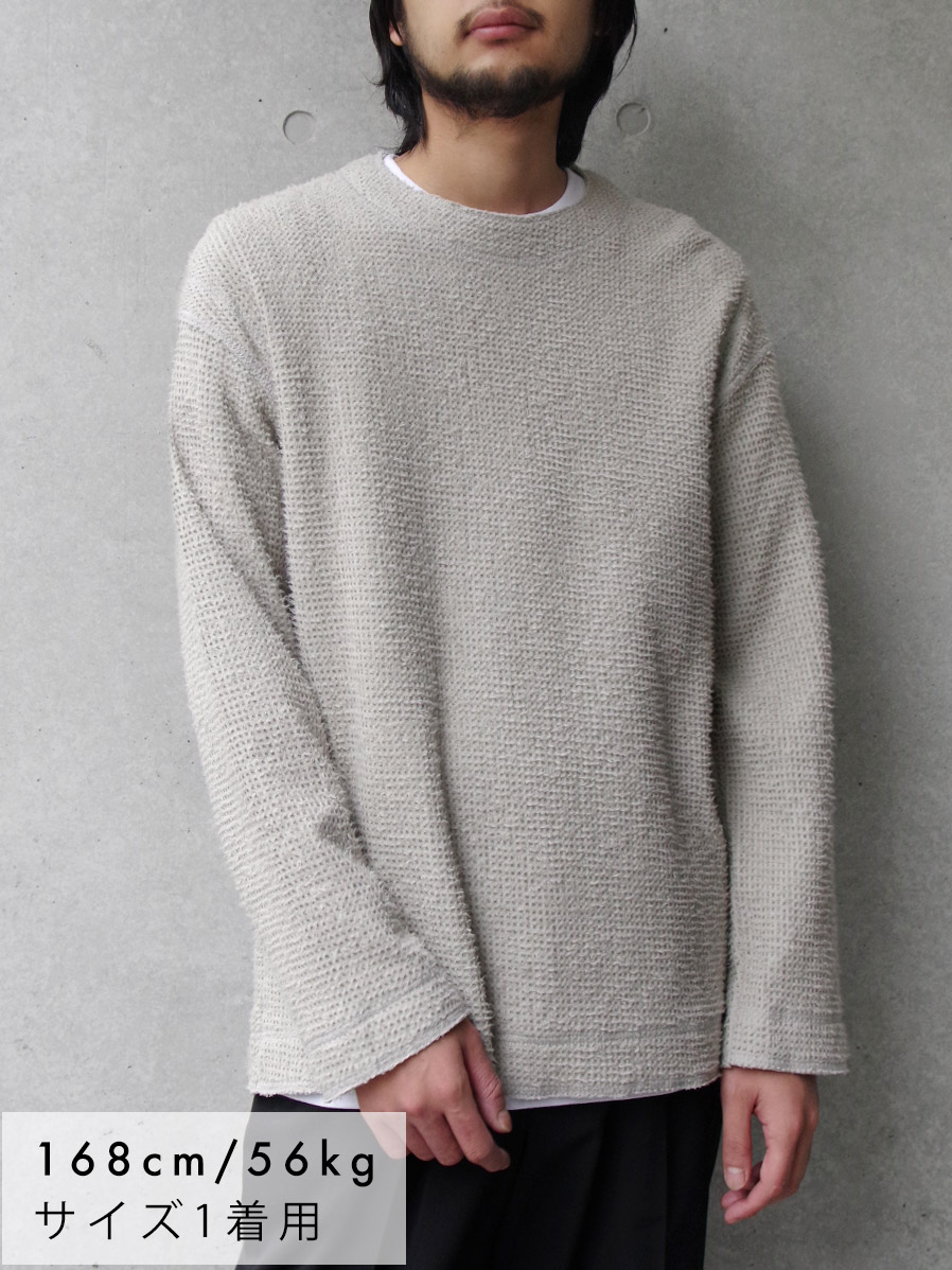 "【2019AW】 wizzard (ウィザード)  ""BRUSHED WAFFLE CUTSEW"" <カットソー> - LIGHT GRAY"