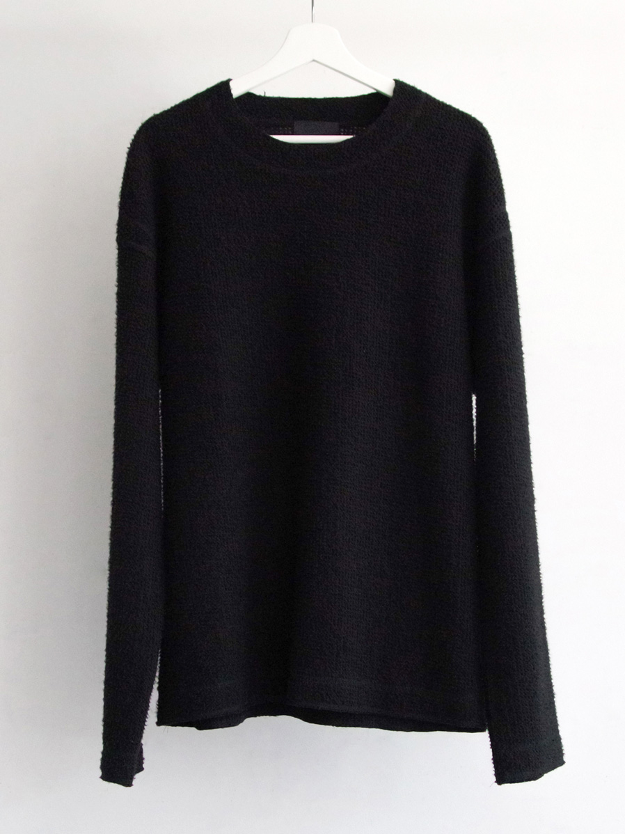 """【2019AW】 wizzard (ウィザード)  """"BRUSHED WAFFLE CUTSEW"""" <カットソー> - BLACK"""