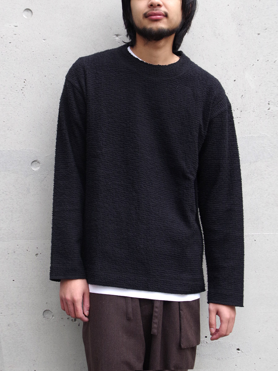 "【SALE】wizzard (ウィザード)  ""BRUSHED WAFFLE CUTSEW"" <カットソー> - BLACK"
