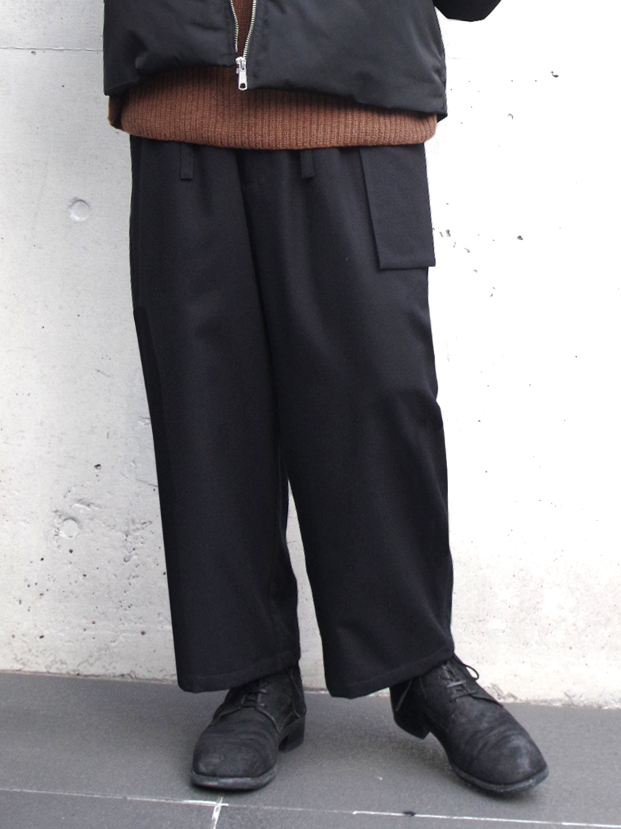 """【19AW】 wizzard (ウィザード)  """"WOOL WIDE CROPPED PANTS"""" <ワイドパンツ> - BLACK"""