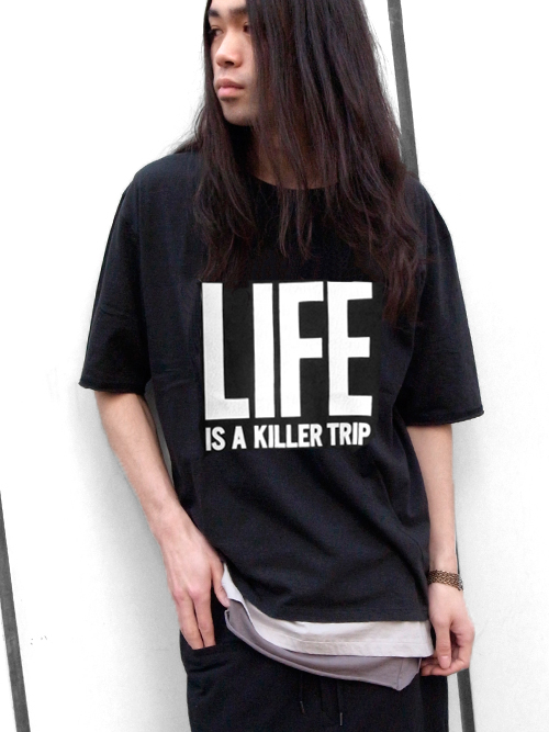 "wizzard (ウィザード)  ""PRINT CUTSEWN"" - ""LIFE IS A KILLER TRIP"" - BLACK<プリントT>"
