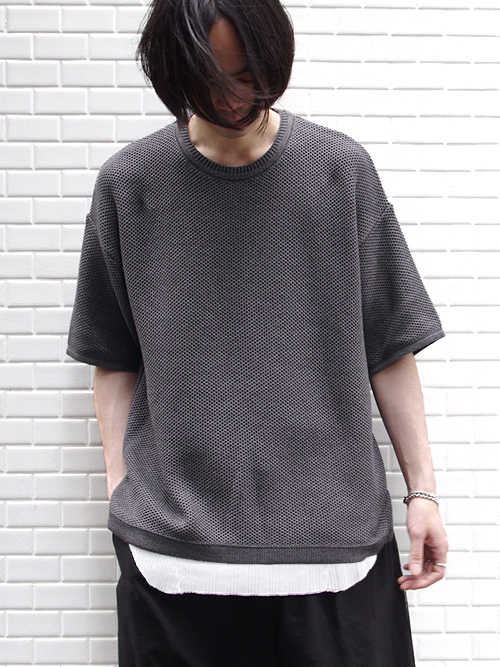 """【18SS/別注】 wizzard × SHELTER (ウィザード)  """"WIDE SUMMER KNIT"""" <ワイドサマーニット> - MIDDLE GRAY"""