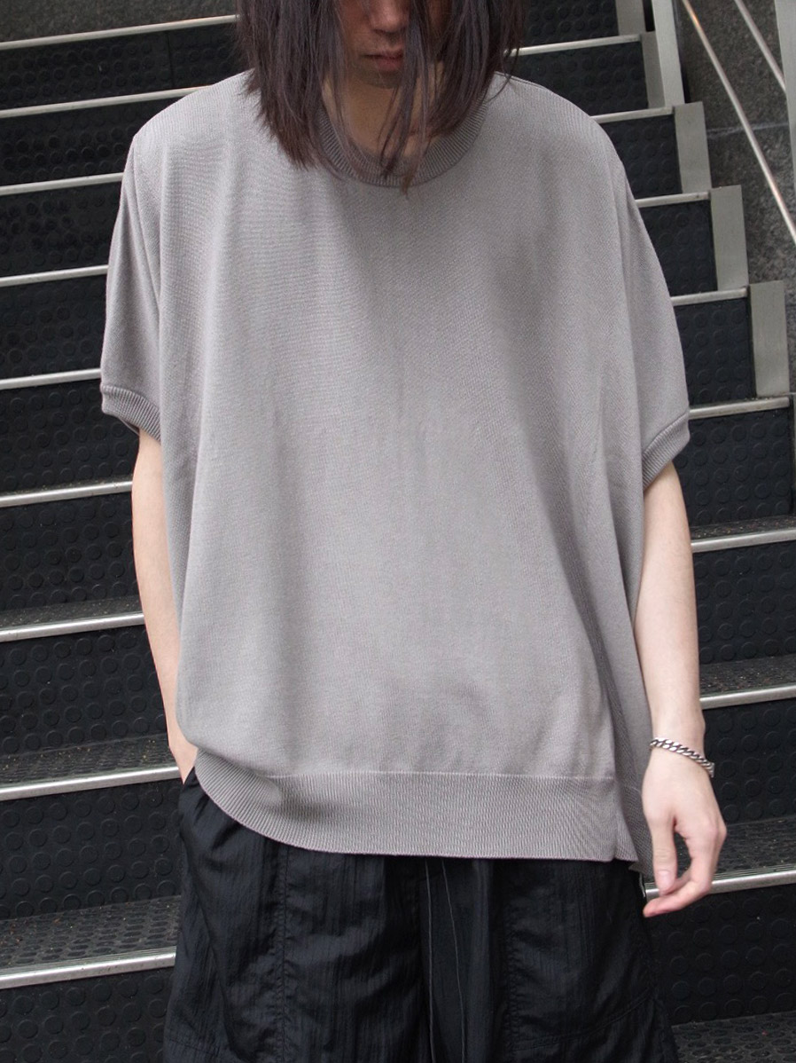"【SHELTER別注】 wizzard (ウィザード)  ""WIDE SUMMER KNIT TEE"" <サマーニット> - GRAY"