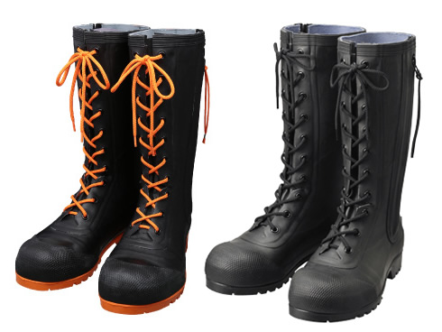 AB090(Black)・AB110(Black/Orange) Rubber Safety Lace-up Boots HSS-001 / AB090(ブラック)・AB110(ブラック/オレンジ) 安全編上靴