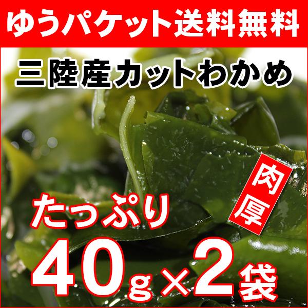 【日時指定不可:ゆうパケット送料無料】三陸産カットわかめ40g×2袋