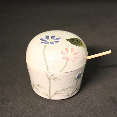 清水焼薬味入 秋桜