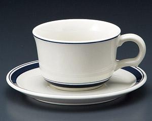 ティーカップソーサー ネイビーボーダー 洋食器 業務用食器 商品番号:3d64959-406