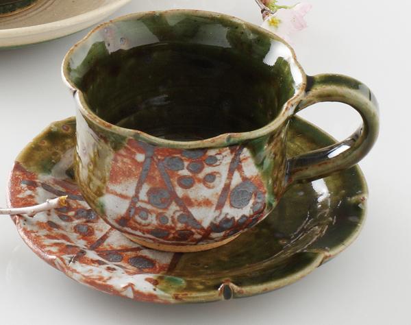 コーヒーカップソーサー 絵織部 陶器 和食器 業務用食器 商品番号:6a24-54