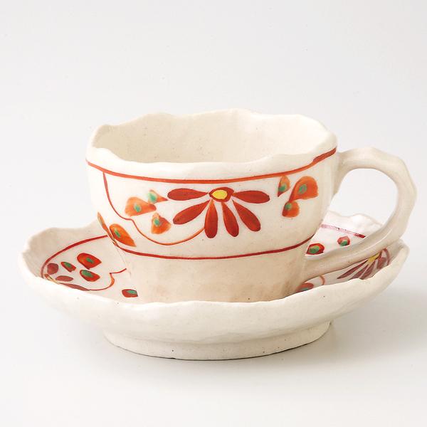 コーヒーカップソーサー 赤絵花 陶器 和食器 業務用食器 商品番号:6a27-55