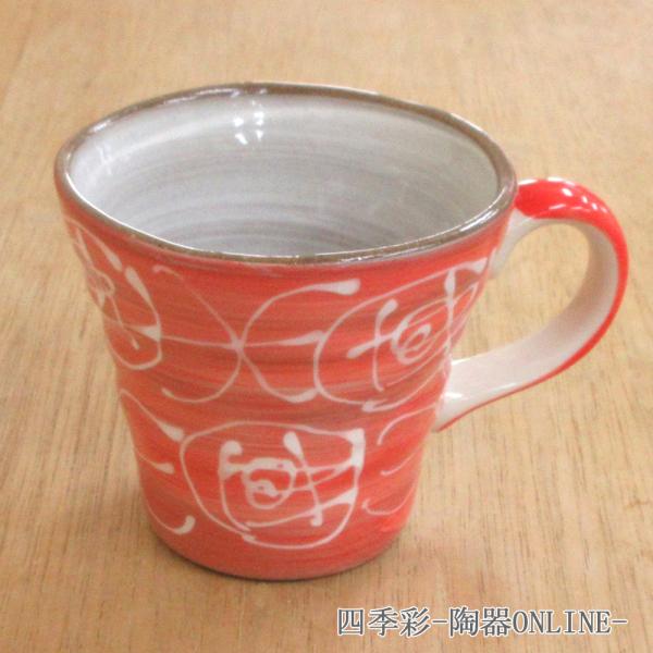 マグカップ ピンク化粧土一珍バラマグ 陶器 業務用 商品番号:9a783-16-32g