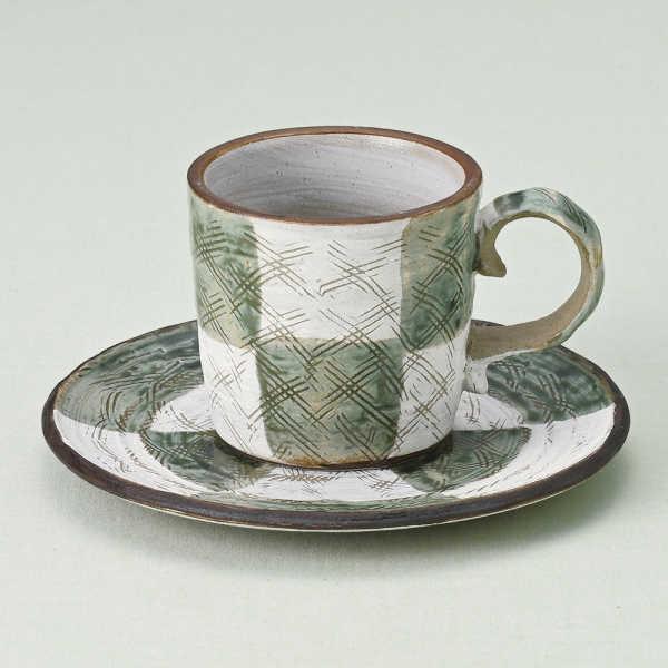 コーヒーカップソーサー 織部市松