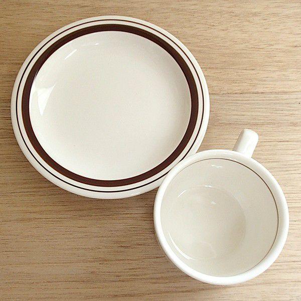 ティーカップソーサー ブラウンライン 洋食器 業務用食器 商品番号:3b538-11