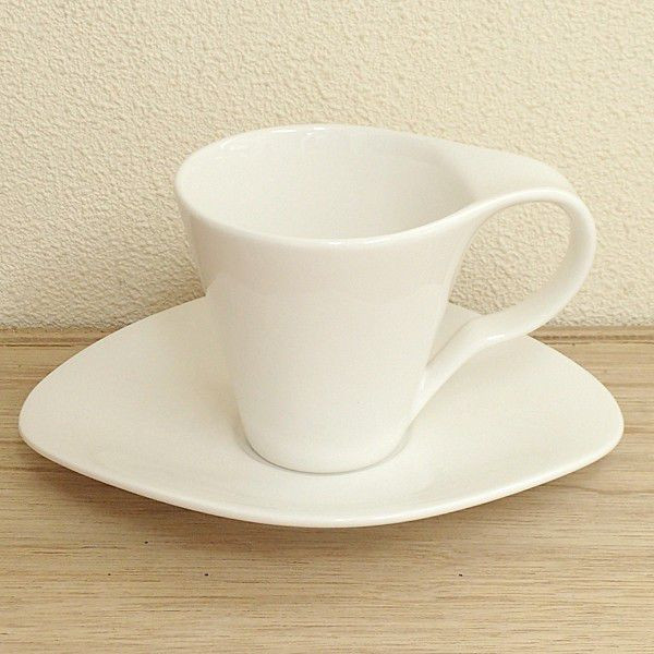 コーヒーカップソーサー 白 たわみ M-style  洋食器 業務用食器 商品番号:3b542-45