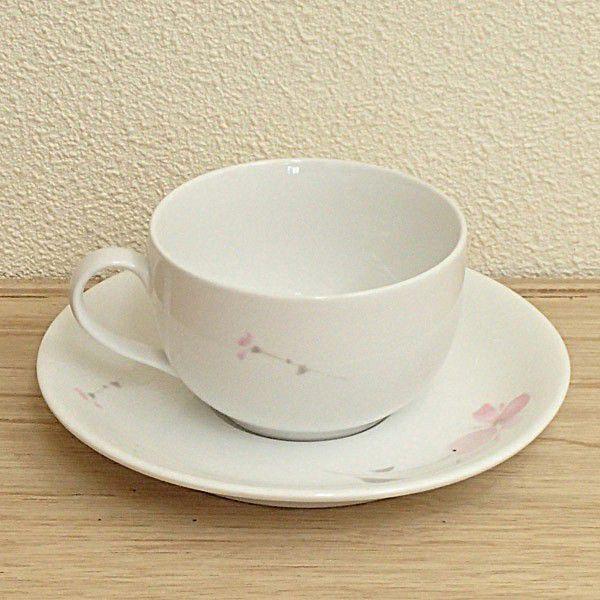 ティーカップソーサー ピンクフラワー 強化磁器 洋食器 業務用食器 商品番号:3d64857-476