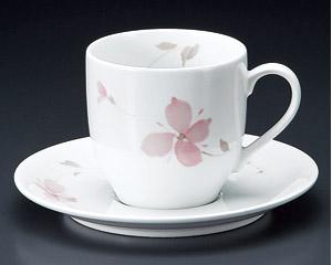 アメリカンコーヒーカップソーサー ピンクフラワー 強化磁器 洋食器 業務用食器 商品番号:3d64859-476