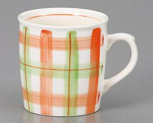マグカップ チェック(ピンク) 陶器 業務用食器 商品番号:3d66013-406