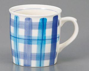 マグカップ チェック(ブルー) 陶器 業務用食器 商品番号:3d66014-406