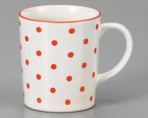 マグカップ 水玉(赤) 陶器 業務用食器 商品番号:3d66030-196
