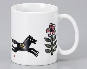 マグカップ 絵本 木馬 陶器 業務用食器 商品番号:3d66103-446