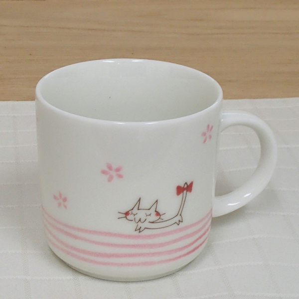 マグカップ リボンねこ ピンク 陶器 業務用食器 商品番号:3d66121-196