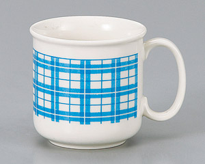 マグカップ ブルー格子 陶器 業務用食器 商品番号:3d66128-316