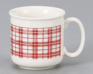 マグカップ ピンク格子 陶器 業務用食器 商品番号:3d66129-316