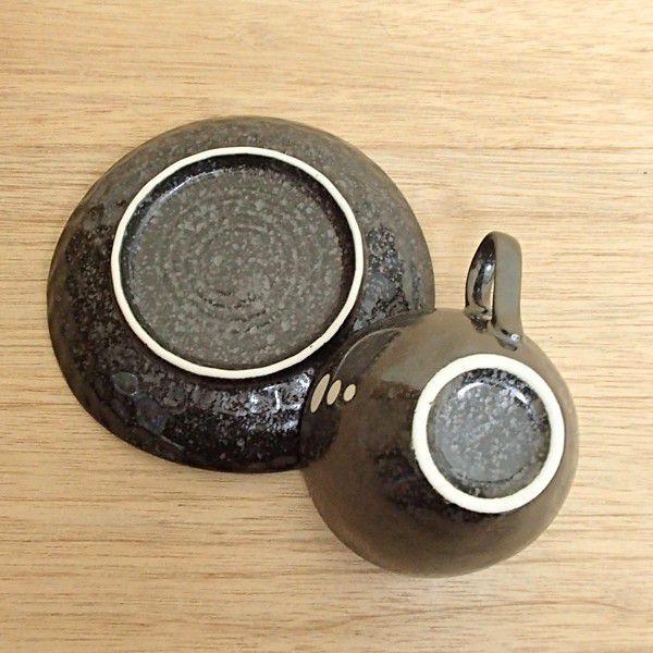 コーヒーカップソーサー ドット黒 陶器 和食器 業務用食器 商品番号:3y777-52-462