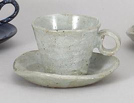 コーヒーカップソーサー 白たたき 陶器 和食器 業務用食器 商品番号:5a800-63-64