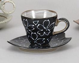コーヒーカップソーサー 黒化粧土一珍花 陶器 和食器 業務用食器 商品番号:5a800-67-68