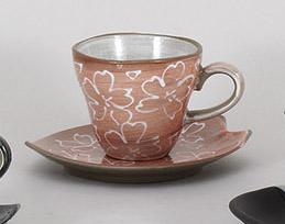 コーヒーカップソーサー ピンク化粧土一珍花 陶器 和食器 業務用食器 商品番号:5a800-69-70