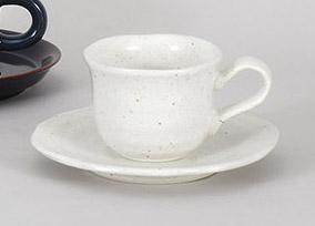 コーヒーカップソーサー 白釉Nウェーブ 陶器 和食器 業務用食器 商品番号:5a801-23-24