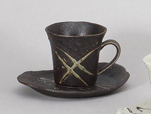 コーヒーカップソーサー 黒筆流し 陶器 和食器 業務用食器 商品番号:5a801-25-26