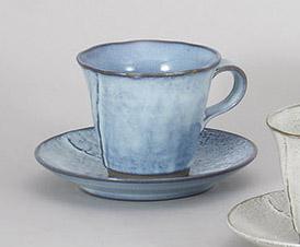 コーヒーカップソーサー 黒陶均窯 陶器 和食器 業務用食器 商品番号:5a801-49-50
