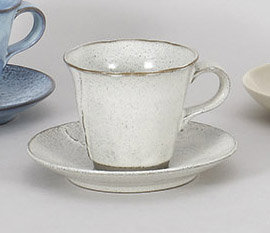 コーヒーカップソーサー 黒陶粉引 陶器 和食器 業務用食器 商品番号:5a801-51-52