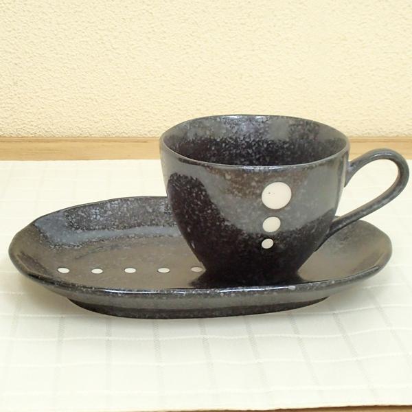 コーヒーカップソーサー 黒ドット 陶器 和食器 業務用食器 商品番号:5a801-57-58