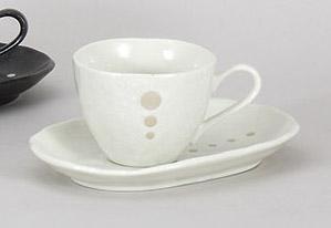 コーヒーカップソーサー 白ドット 陶器 和食器 業務用食器 商品番号:5a801-59-60