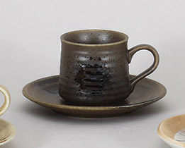 コーヒーカップソーサー 黒伊賀 陶器 和食器 業務用食器 商品番号:5a801-65-66